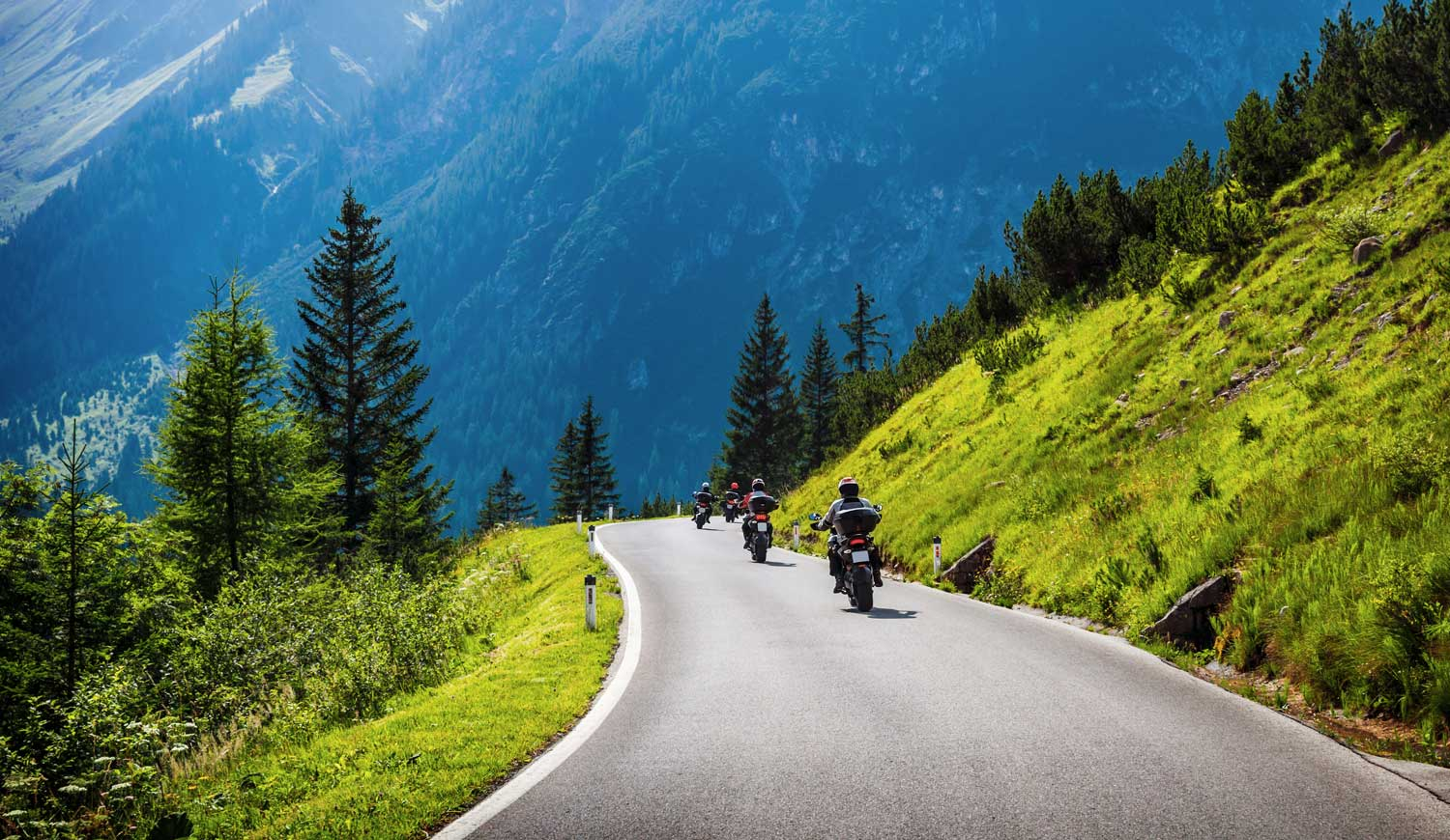 Bikers on a mountain road