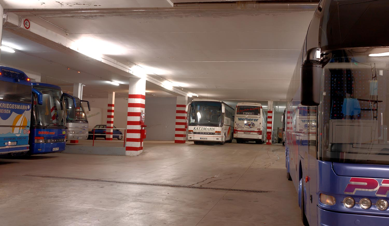 Detail of the bus parking at the Hotel in Bolzano