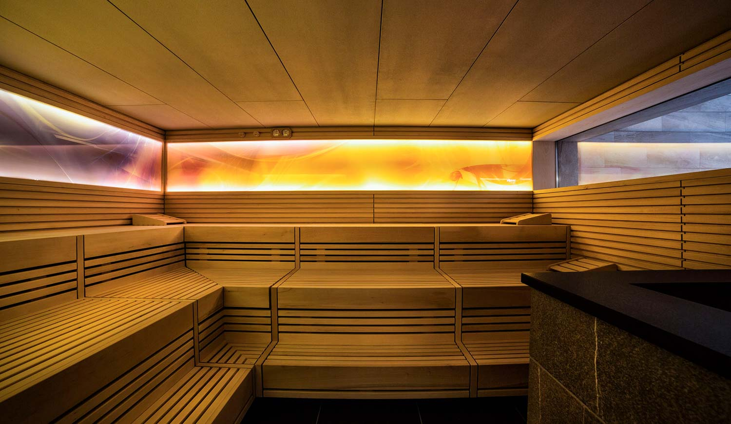 Inside the Finnish sauna of Hotel Ideal Park